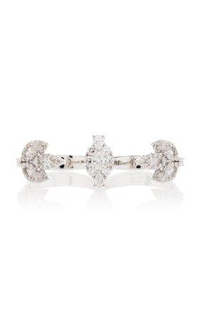Yeprem Double-Finger 18K White And Diamond Ring