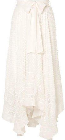 Hanky Lace-trimmed Swiss-dot Silk-georgette Skirt - White