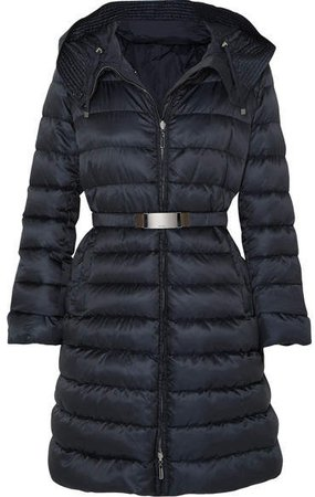 The Cube Hooded Belted Quilted Shell Down Coat - Navy