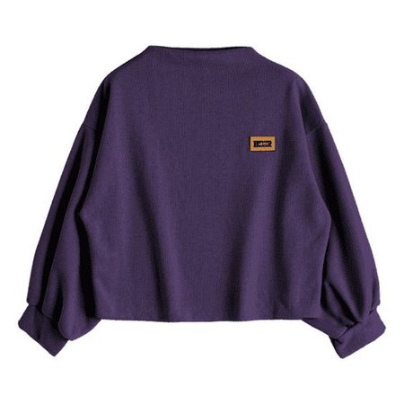 Badge Patched Lantern Sleeve Sweatshirt Deep Purple