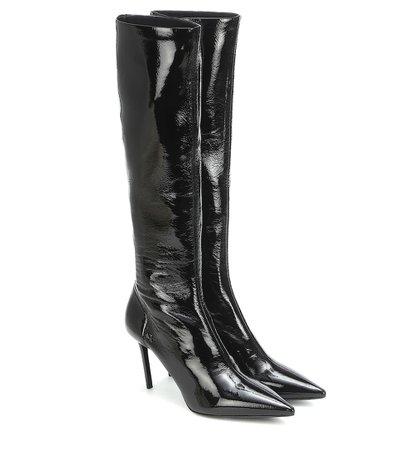 Prada - Patent knee-high boots | Mytheresa