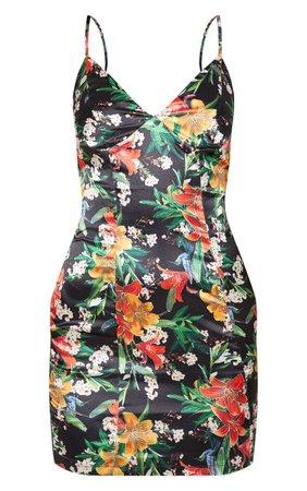 Black Satin Floral Bodycon Dress | Dresses | PrettyLittleThing