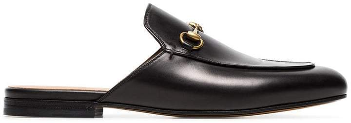 black princetown backless leather loafers