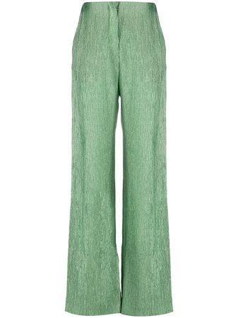 Shop green Nanushka high-waisted trousers with Afterpay - Farfetch Australia