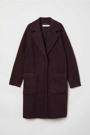 Пальто из смесовой шерсти - Бордовый - Женщины | H&M RU