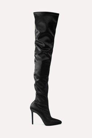 Montana 120 Stretch-satin Thigh Boots - Black