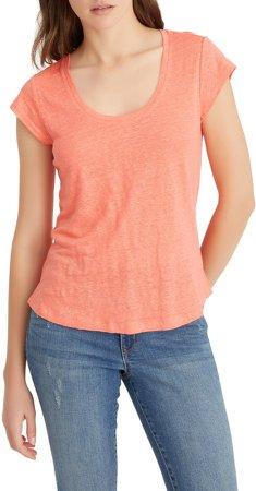 Alma Scoop Neck Slub Linen T-Shirt