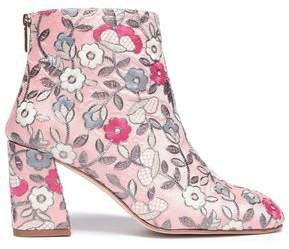 Embroidered Canvas Ankle Boots