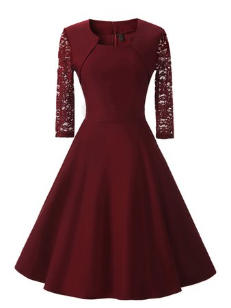 Contrast Lace Sleeve Circle Dress