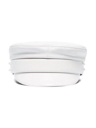 Ruslan Baginskiy White Leather Baker Boy Hat