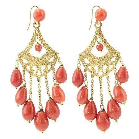Coral 18 Karat Gold Chandelier Earrings For Sale at 1stDibs