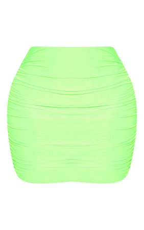 Neon Green Slinky Ruched Mini Skirt | Skirts | PrettyLittleThing USA