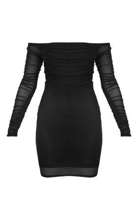 Black Ruched Mesh Bardot Bodycon Dress | PrettyLittleThing