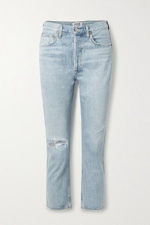 Riley Cropped Distressed High-rise Straight-leg Jeans - Light denim