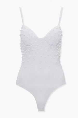Faux Pearl Glitter Knit Bodysuit | Forever 21