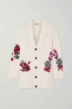 Embroidered Cable-knit Alpaca-blend Cardigan - White