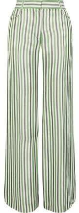 Striped Poplin Wide-leg Pants