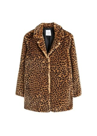 Violeta BY MANGO Animal print faux fur coat
