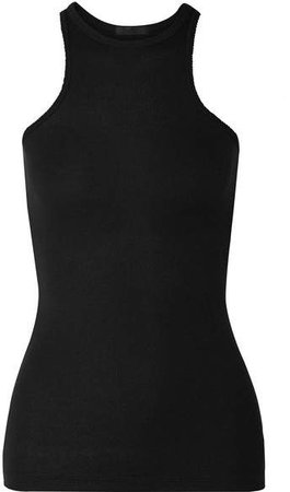 Ribbed Stretch-micro Modal Tank - Black
