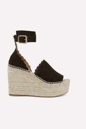 Lauren Suede Espadrille Wedge Sandals - Black