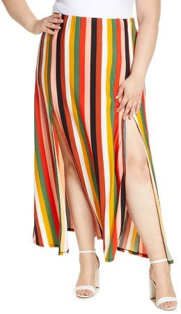 Stripe Side Slit Maxi Skirt