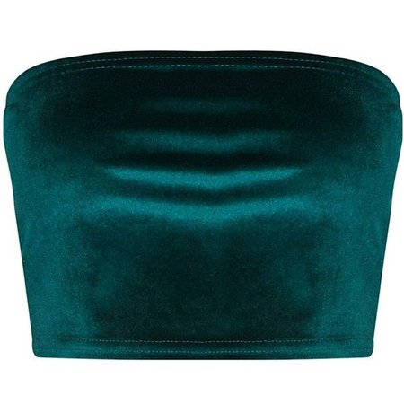 Sleeveless Green Velvet Crop-Top