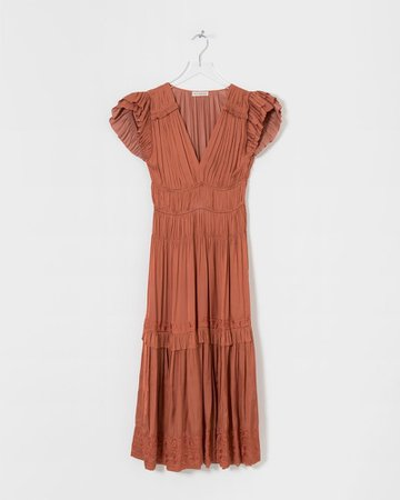 Ulla Johnson Red Claudia Dress in Rust   The Dreslyn