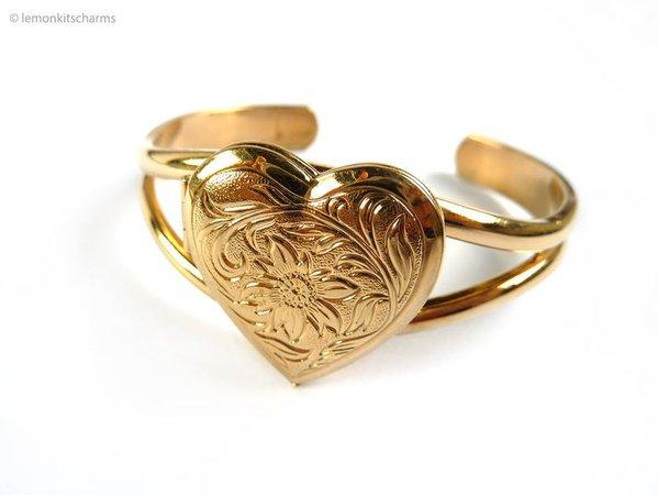 Vintage Avon Heart Locket Bracelet Cuff Bangle 1990s | Etsy
