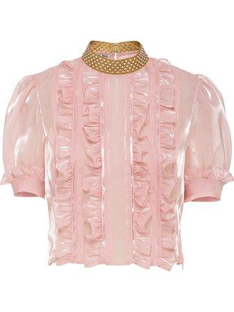 Miu Miu crystal embellished ruffled top pink