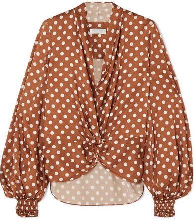 Bette Polka-dot Silk-satin Blouse - Brown