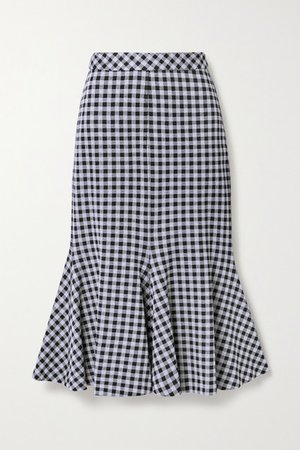 Fluted Gingham Stretch-jersey Midi Skirt - Black