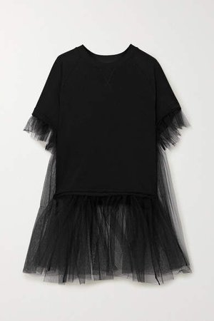 Cotton-blend Jersey And Tulle T-shirt - Black