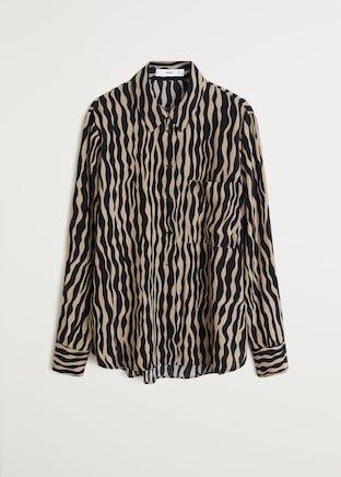 Zebra printed shirt - Women   Mango USA brown