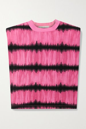 Alice Olivia - Desma Cropped Tie-dyed Cotton-jersey Tank - Pink