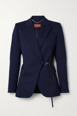 Midnight blue Irving belted wool-blend blazer | Altuzarra | NET-A-PORTER