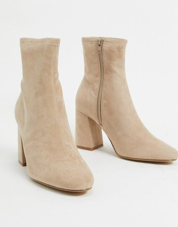 Pimkie faux suede heeled boots in beige | ASOS