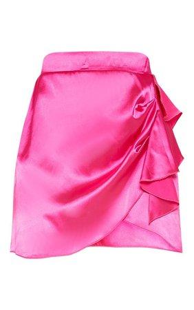 Hot Pink Satin Asymmetric Tie Skirt  | PrettyLittleThing