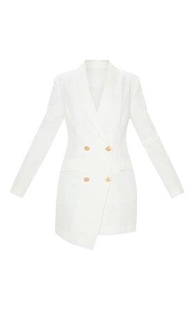 White Gold Button Blazer Dress | Dresses | PrettyLittleThing