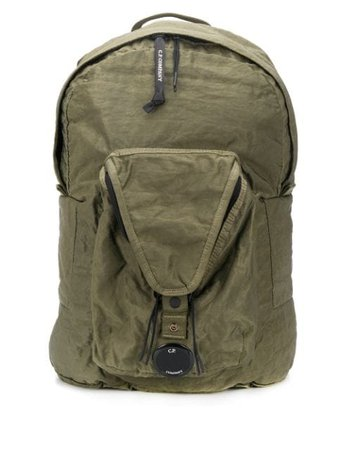 C.p. Company Crinkle Logo Plaque Backpack 08CMAC036A005269G Green | Farfetch