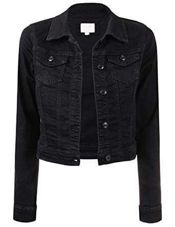 BEKTOME Womens Classic Casual Vintage Black Denim Jean Jacket