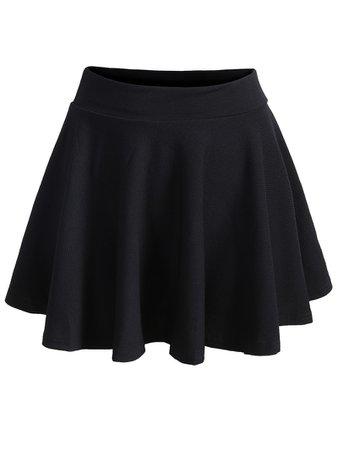 Elastic Waist Pleated Black Skirt