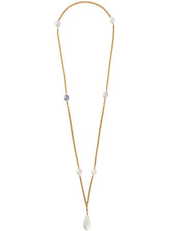 Chanel Pre-Owned 1996 Pearl-Embellished Necklace CSZH0718CHANEC Metallic | Farfetch