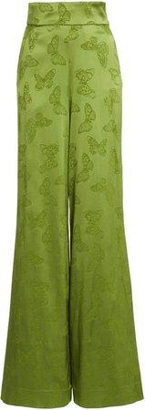 Dundas Butterfly Jacquard Flared-Leg Trousers