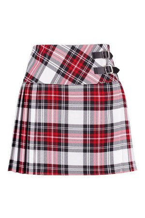 Buckle Detail Tartan Check Pleated Kilt Woven Skirt | Boohoo
