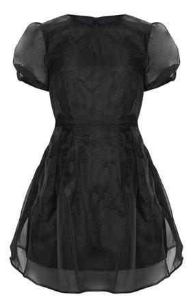 Black Organza Puff Sleeve Skater Dress | PrettyLittleThing