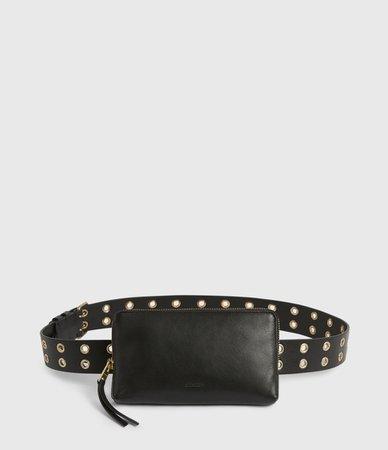 ALLSAINTS US: Womens Iryna Removable Bag Leather Belt (black_gold)