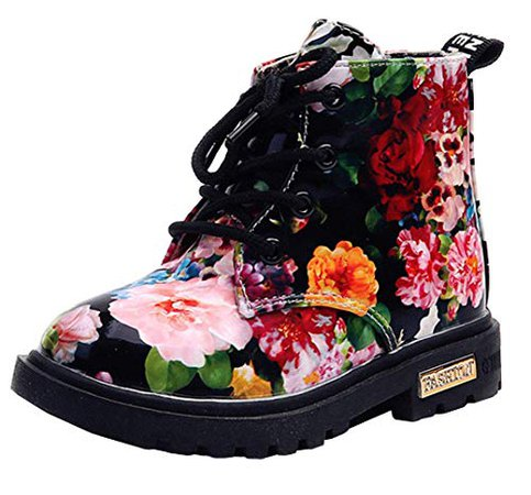 Amazon.com | DADAWEN Boy's Girl's Waterproof Side Zipper Lace-Up Ankle Boots (Toddler/Little Kid/Big Kid) Black(Flowers) US Size 9.5 M Toddler | Boots