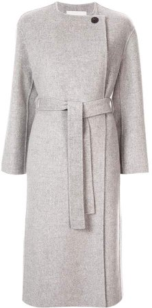 collarless mid-length coat