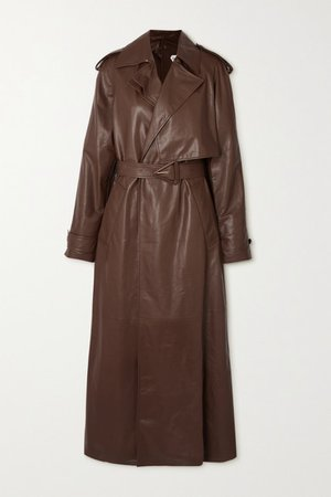 Belted Leather Trench Coat - Brown