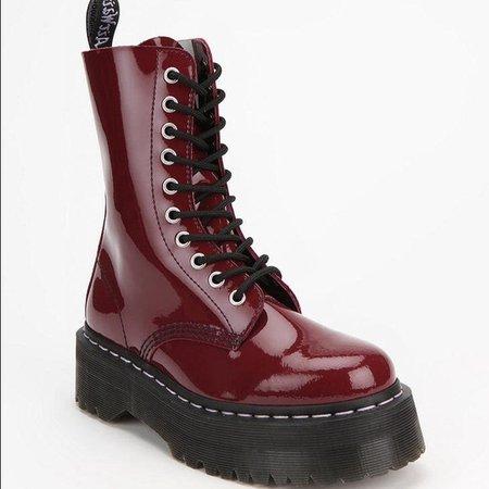 Dr. Martens Shoes | Aggy Doc Martens Size 8 Cherry Red Platform Boots | Poshmark